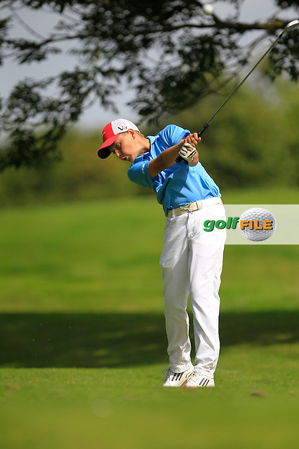 Daniel Hennessy (The Heath) on the 11th tee during the Irish Boys Under 15 Amateur Open Championship Round 2 at the West Waterford Golf Club on Wednesday 21st August 2013 <br /> Picture:  Thos Caffrey/ www.golffile.ie