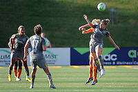 Amy Rodriguez (8) of the Philadelphia Independence and Daphne Koster (4) of Sky Blue FC go up for a header. The Philadelphia Independence defeated Sky Blue FC 2-1 during a Women's Professional Soccer (WPS) match at John A. Farrell Stadium in West Chester, PA, on June 6, 2010.