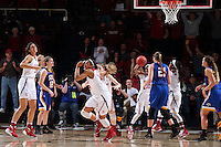 STANFORD, CA - March 21, 2016: Stanford Cardinal defeats the South Dakota State Jackrabbits 66-65 in a second round NCAA tournament game at Maples Pavilion.<br /> Erica McCall celebrates after blocking the final shot of the game.