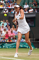 Agnieszka Radwanska (9) of Poland in action during her victory over Timea Bacsinszky (19) of Switzerland in their Ladies' Singles Third Round Match today - Radwanska def Bacsinszky 3-6, 6-4, 6-1<br /> <br /> Photographer Ashley Western/CameraSport<br /> <br /> Wimbledon Lawn Tennis Championships - Day 6 - Saturday 8th July 2017 -  All England Lawn Tennis and Croquet Club - Wimbledon - London - England<br /> <br /> World Copyright &not;&copy; 2017 CameraSport. All rights reserved. 43 Linden Ave. Countesthorpe. Leicester. England. LE8 5PG - Tel: +44 (0) 116 277 4147 - admin@camerasport.com - www.camerasport.com