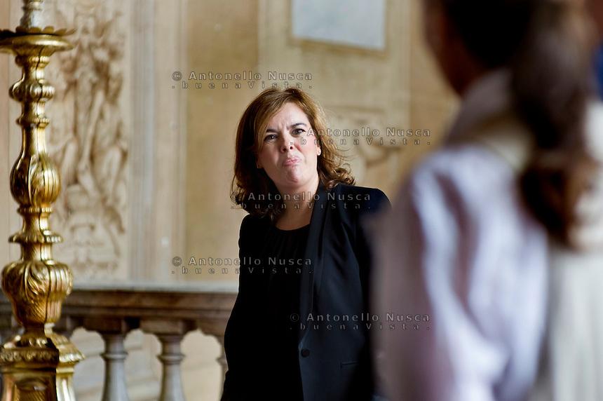 Roma, 15 Settembre, 2014. Il Vicepresidente del Governo Spagnolo Soraya Saenz de Santamaria.