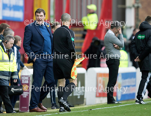 Motherwell v St Johnstone…18.03.17     SPFL    Fir Park<br />Tommy Wright reacts at full time as Steven Robinson holds his head<br />Picture by Graeme Hart.<br />Copyright Perthshire Picture Agency<br />Tel: 01738 623350  Mobile: 07990 594431