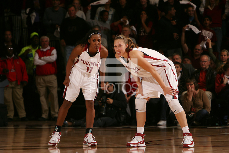 22 December 2007: Candice Wiggins with Kayla Pedersen during Stanford's 73-69 win over Tennessee at Maples Pavilion in Stanford, CA.