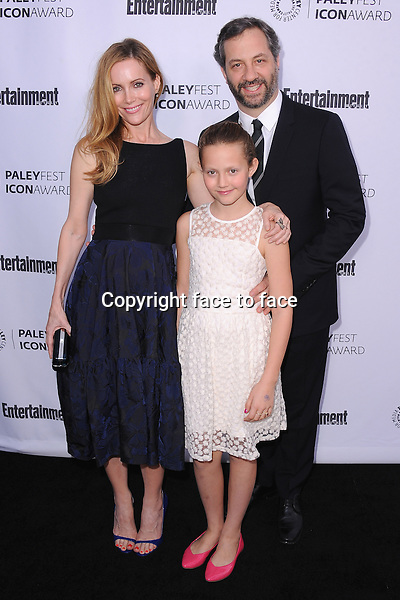 BEVERLY HILLS, CA - MARCH 10:  Leslie Mann, Judd Apatow and daughter Iris Apatow arrive at the 2014 PaleyFest Icon Award to Judd_Apatow at the Paley Center for the Media on March 10, 2014 in Beverly Hills, California.<br />
