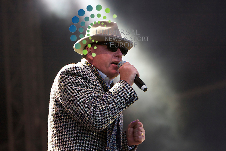 """T in The Park 2010 Final Day .2010..11-07-10. Madness front man Graham """"Suggs McPherson  wow's  the crowd of the NME Stage at T in the Park.On The last Day of the T in the Park Music Festival, Balado...Picture, Mark Davison/Universal News and Sport."""