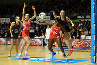 30.08.2017 Silver Ferns Katrina Grant and England's Kadeen Corbin in action during the Quad Series netball match between the Silver Ferns and England at the Trusts Arena in Auckland. Mandatory Photo Credit ©Michael Bradley.