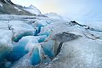 Crevasses in Adamello-Mandrone Glacier, Alps, the largest in Italy