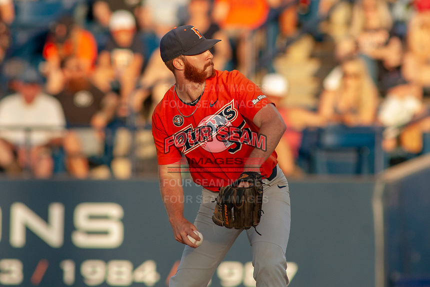 Cal State Fullerton Titans Blake Workman (55) delivers a pitch to the plate against the University of Washington Huskies at Goodwin Field on June 10, 2018 in Fullerton, California. The Huskies defeated the Titans 6-5. (Donn Parris/Four Seam Images)