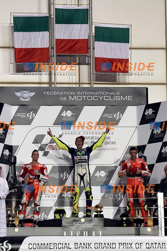 Lg Losail (Qatar) 29/03/2015 - gara Moto GP / foto Luca Gambuti/Image Sport/Insidefoto<br /> nella foto: Andrea Dovizioso Ducati Second, Valentino Rossi Yamaha winner, Andrea Iannone Ducati third