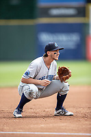 Lake County Captains third baseman Jesse Berardi (17) on defense against the South Bend Cubs on May 30, 2019 at Four Winds Field in South Bend, Indiana. The Captains defeated the Cubs 5-1.  (Andrew Woolley/Four Seam Images)