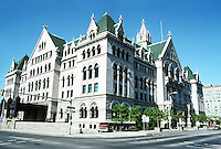 "Buffalo: Old Post Office 1894-1901. Now Erie Community College. ""One of the many progeny of Richardson's Allegheny County Courthouse""  Magnificent interior space. James Knox Taylor. Gothic Revival. National Register of Historic Places 1972. Photo '88."