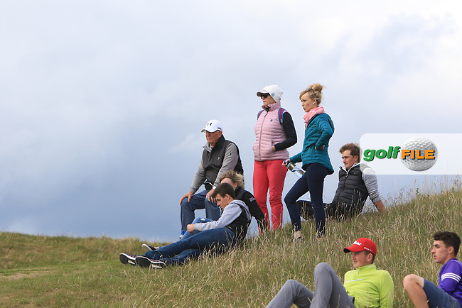 Gary Hurley (IRL) and Paul Dunne (IRL) and friends with Tony Goode (Ireland team Captain) and Cora Harris watching the play on the 3rd during Round 3 of the East of Ireland Amateur Open Championship at Co. Louth Golf Club in Baltray on Sunday 4th June 2017.<br />