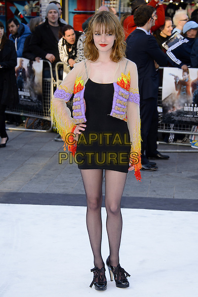 Dakota Blue Richards.attending the UK film premiere of 'Star Trek Into Darkness 3D' held at the Empire Cinema, London, United Kingdom, .2nd May 2013..full length black dress hand on hip jacket purple red orange yellow tassels fringed sleeves sheer beige nude mini tights .CAP/CJ.©Chris Joseph/Capital Pictures.