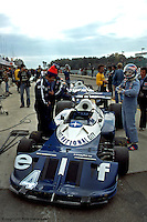 WATKINS GLEN, NY: Patrick Depailler prepares to drive the Tyrrell P34 7/Ford Cosworth DFV during practice for the United States Grand Prix East on October 2, 1977, at the Watkins Glen Grand Prix Race Course near Watkins Glen, New York.