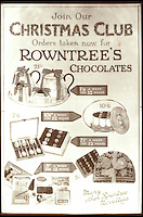 BNPS.co.uk (01202 558833)<br /> Pic: Nestle/BNPS<br /> <br /> ***Please use full byline***<br /> <br /> An advert from the 1920s. <br /> <br /> A fascinating archive of vintage selection boxes have emerged to reveal how the common stocking filler was once a luxurious present that families would save all year for.<br /> <br /> The assorted chocolate packs were launched by Rowntrees in the 1920s after the success of their Christmas hampers.<br /> <br /> They were considered as extremely extravagant gifts with an early box from 1927 costing 10 shillings, the equivalent of one weeks rent for a poor, working class family.<br /> <br /> The boxes contained some of the first chocolate bars invented by the company that are no longer in existance, including Nut Cracknel, Cream Tablette, and Motoring bars.<br /> <br /> Families began putting aside money throughout the year to afford the must-have gifts, which became more extravagant as their popularity grew.<br /> <br /> Rowntrees provided newsagents and grocery shops with special Christmas Club Cards which buyers used to pay weekly installments towards the selection boxes.<br /> <br /> In the 1930s Rowntrees began adding novelty items to the packs such as vases, carriage clocks, and cutlery sets, which acted as keepsakes once the chocolate had been eaten.<br /> <br /> They ranged in price from 2 shillings and six pence up to 10 shillings depending on the size of the enclosed gift.