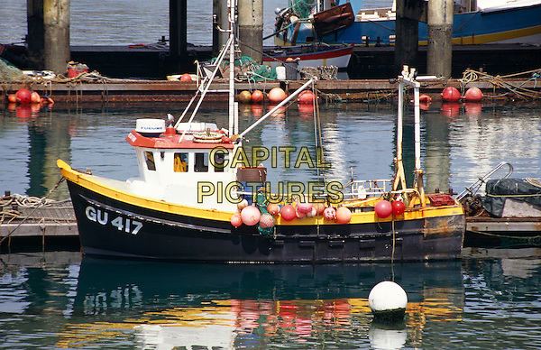 Guernsey fishing boat moored in the harbour, St Peter Port, Guernsey, Channel Islands.