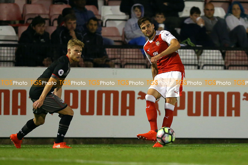 Carl Jenkinson of Arsenal and Siph Mdlalose of Southampton during Arsenal Under-23 vs Southampton Under-23, Premier League 2 Football at Meadow Park on 14th October 2016