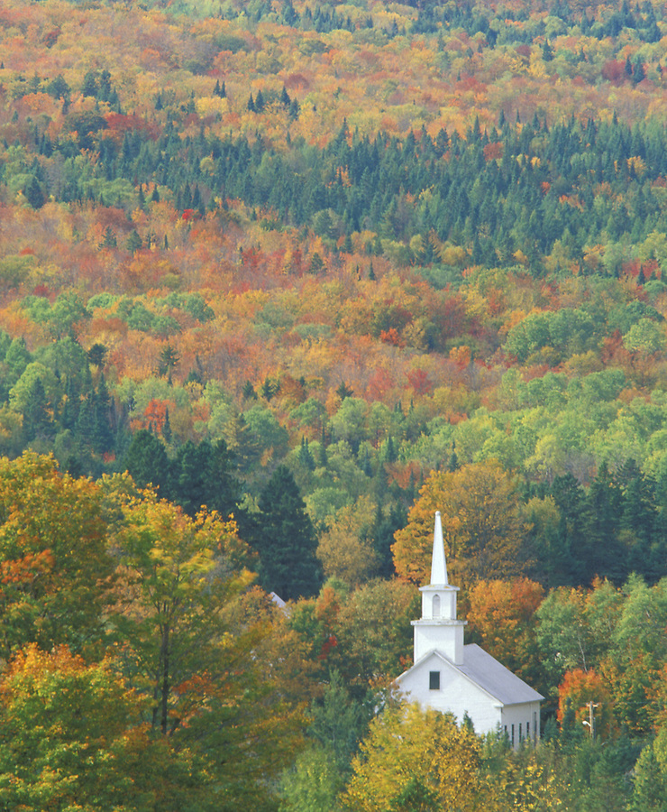 Church surrounded by fall colors, Sutton, Vermont
