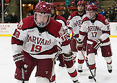 Jimmy Vesey (Harvard - 19), Brian Hart (Harvard - 39), Sean Malone (Harvard - 17) - The Harvard University Crimson defeated the Princeton University Tigers 3-2 on Friday, January 31, 2014, at the Bright-Landry Hockey Center in Cambridge, Massachusetts.