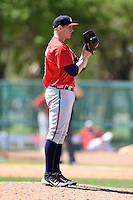 Atlanta Braves pitcher Jordan Sechler (46) during a minor league spring training game against the Washington Nationals on March 26, 2014 at Wide World of Sports in Orlando, Florida.  (Mike Janes/Four Seam Images)