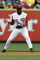 03 April 2006: Cincinnati Red's Tony Womak makes a play against the Chicago Cubs during the Reds' home opener at Great American Ballpark in Cincinnati, Ohio.<br />
