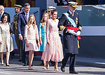 (L to R) Defense Minister Margarita Robles, President Pedro Sanchez, Princess of Asturias Leonor, Infanta Sofia, Queen Letizia and King Felipe VI of Spain during the Military parade because of the Spanish National Holiday. October 12, 2019.. (ALTERPHOTOS/ Francis Gonzalez)