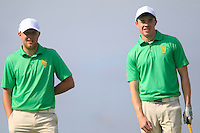 Paul McBride (IRL) and Stuart Grehan (IRL) on the 12th during the Home Internationals day 2 foursomes matches supported by Fairstone Financial Management Ltd. at Royal Portrush Golf Club, Portrush, Co.Antrim, Ireland.  13/08/2015.<br /> Picture: Golffile   Fran Caffrey<br /> <br /> <br /> All photo usage must carry mandatory copyright credit (© Golffile   Fran Caffrey)