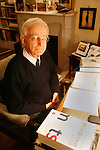 Michael Edwards, professor of English and French literature in Paris. He is a candidate for the Academie Francaise, February 2008. If he wins this, he will the first ever English person to hold this title.///Portrait of Professor Michael Edwards at his desk with papers and books