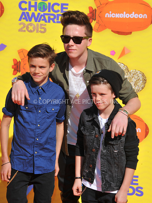 WWW.ACEPIXS.COM<br /> <br /> March 28 2015, LA<br /> <br /> Brothers (L-R) Romeo James Beckham, Brooklyn Joseph Beckham and Cruz David Beckham arriving at Nickelodeon's 28th Annual Kids' Choice Awards at The Forum on March 28, 2015 in Inglewood, California. <br /> <br /> <br /> By Line: Peter West/ACE Pictures<br /> <br /> <br /> ACE Pictures, Inc.<br /> tel: 646 769 0430<br /> Email: info@acepixs.com<br /> www.acepixs.com