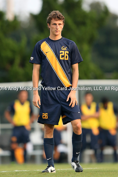 29 August 2014: Cal's Ugo Rebecchini (ITA). The University of North Carolina Tar Heels hosted the University of California Bears at Fetzer Field in Chapel Hill, NC in a 2014 NCAA Division I Men's Soccer match. North Carolina won the game 3-1.
