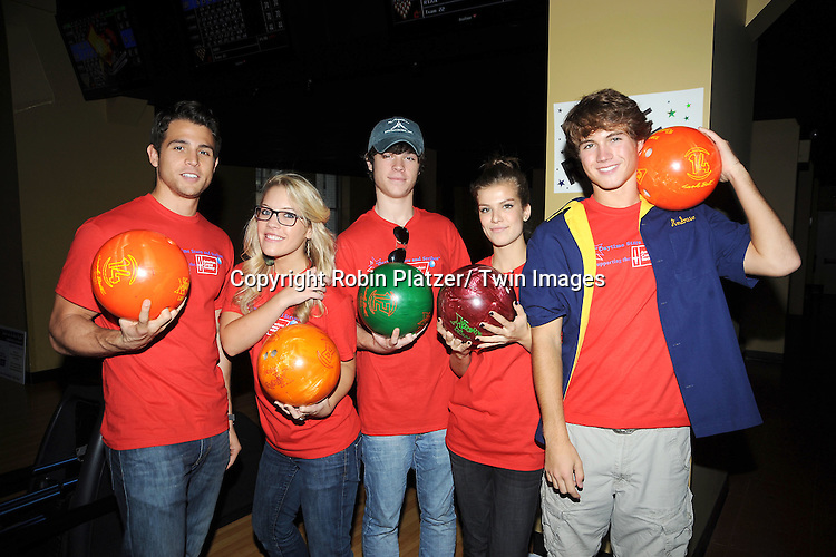 One Life to Live group shot, Lenny Platt, Kristen Alderson, Eddie Alderson, Kelley Missal and Andrew Trischitta pose at the Daytime Stars and Strikes Charity Bowling Event benefitting the American Cancer Society on .October 9, 2011 at Bowlmor Lanes in Times Square.