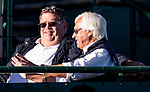 OCT 26: bob Baffert and Dale Romans share a moment at Clocker's Corner at Santa Anita Park in Arcadia, California on Oct 26, 2019. Evers/Eclipse Sportswire/Breeders' Cup