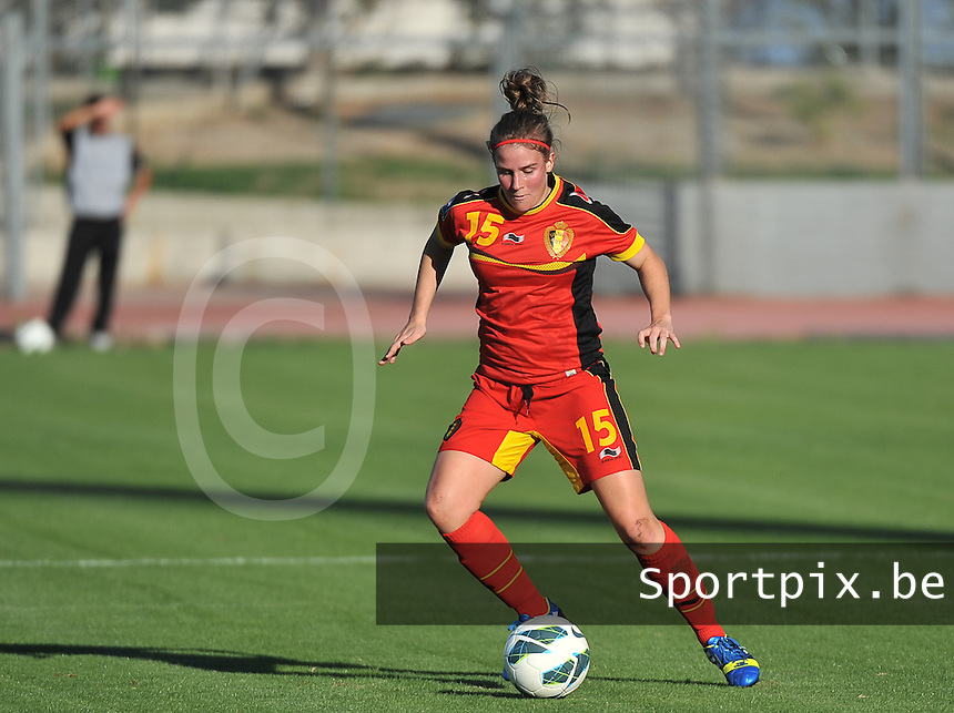 20131026 - LIVADIA , GREECE : Belgian Marlies Verbruggen pictured during the female soccer match between Greece and Belgium , on the third matchday in group 5 of the UEFA qualifying round to the FIFA Women World Cup in Canada 2015 at the Levadia Municipal Stadium , Livadia . Saturday 26th October 2013. PHOTO DAVID CATRY
