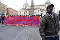 Piazza Esquilino.A due anni dalle rivolte di Rosarno,Lavoratori Africani di Rosarno  con varie associazioni antirazziste per chiedere giustizia sul lavoro,permessi di soggiorno per uscire dalla clandestinità e la fine dello sfruttamento, per la sovranità alimentare e la difesa dell'agricoltura contadina.