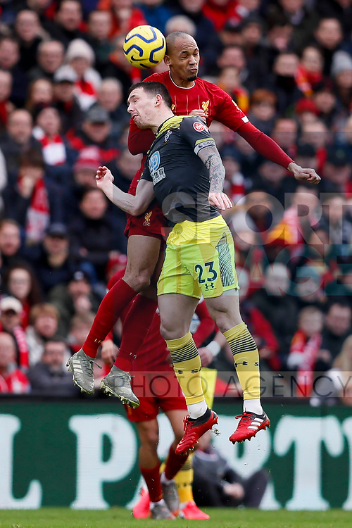 Fabinho of Liverpool and Pierre-Emile Hojbjerg of Southampton battle for the ball during the Premier League match at Anfield, Liverpool. Picture date: 1st February 2020. Picture credit should read: James Wilson/Sportimage
