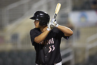 Justin Yurchak (33) of the Kannapolis Intimidators at bat against the Hagerstown Suns at Kannapolis Intimidators Stadium on July 16, 2018 in Kannapolis, North Carolina. The Intimidators defeated the Suns 7-6. (Brian Westerholt/Four Seam Images)