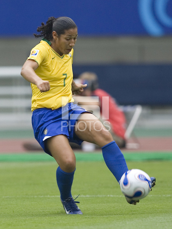 Brazil forward (7) Daniela. Brazil (BRA) defeated New Zealand (NZL) 5-0 in their  FIFA Women's World Cup China 2007 Group D opening round match at Wuhan Sports Center Stadium in Wuhan, China on September 12, 2007.