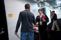 INDIANAPOLIS, IN - APRIL 1, 2011: Head Coach Tara VanDerveer prepares for an interview at Conseco Fieldhouse during the NCAA Final Four in Indianapolis, IN on April 1, 2011.