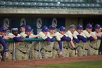 The Western Carolina Catamounts bench watches from the dugout during the game against the Saint Joseph's Hawks at TicketReturn.com Field at Pelicans Ballpark on February 23, 2020 in Myrtle Beach, South Carolina. The Hawks defeated the Catamounts 9-2. (Brian Westerholt/Four Seam Images)