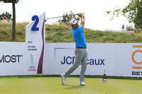 Simon Khan (ENG) on the 2nd tee during Round 1 of the D+D Real Czech Masters at the Albatross Golf Resort, Prague, Czech Rep. 31/08/2017<br /> Picture: Golffile | Thos Caffrey<br /> <br /> <br /> All photo usage must carry mandatory copyright credit     (&copy; Golffile | Thos Caffrey)