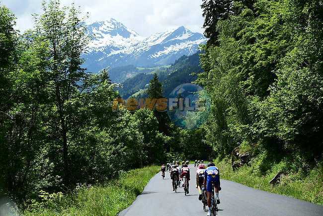 "The 25 man breakaway group 2'35"" ahead during Stage 6 of the 2018 Criterium du Dauphine 2018 running 110km from Frontenex to La Rosiere, France. 9th June 2018.<br /> Picture: ASO/Alex Broadway 