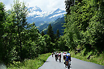 The 25 man breakaway group 2'35&quot; ahead during Stage 6 of the 2018 Criterium du Dauphine 2018 running 110km from Frontenex to La Rosiere, France. 9th June 2018.<br /> Picture: ASO/Alex Broadway | Cyclefile<br /> <br /> <br /> All photos usage must carry mandatory copyright credit (&copy; Cyclefile | ASO/Alex Broadway)