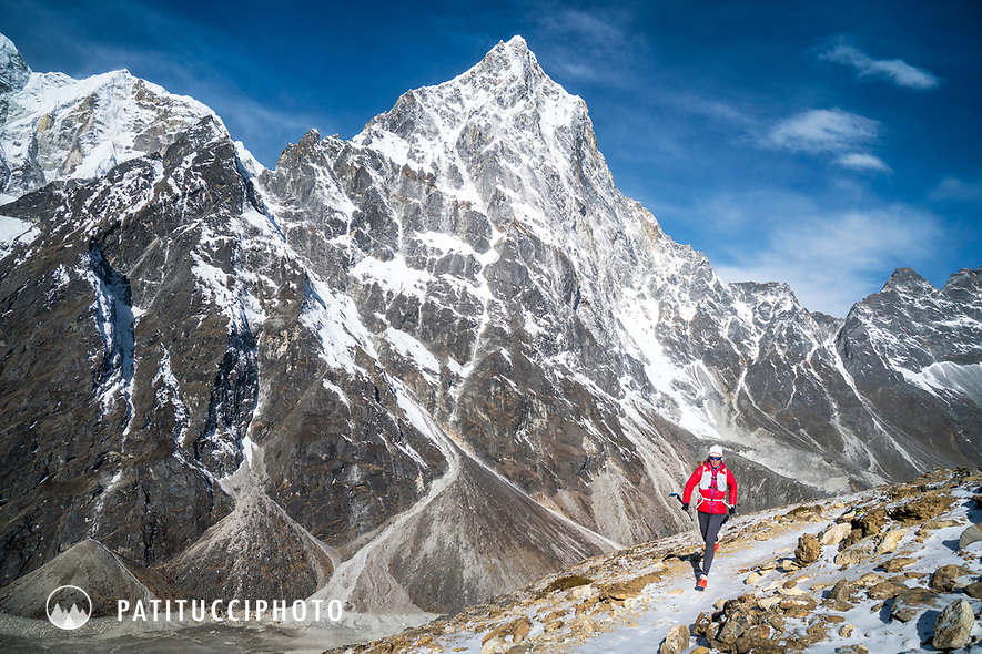 Trail running on the Cho La Pass trail, part of the 3 Passes Tour in Nepal's Khumbu Region.