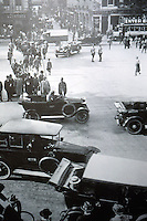 Berlin: In the 20's, the Unter Den Linden and the Friedrichstrasse, Berlin's busiest corner, seen from the Kranzler Cafe. Reference only.