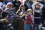 Leo Luchetti and his grandchildren Jackson and Roxy Moyer, 2 and 5, watch the the annual Nevada Day parade in Carson City, Nev. on Saturday, Oct. 29, 2016. Cathleen Allison/Las Vegas Review-Journal