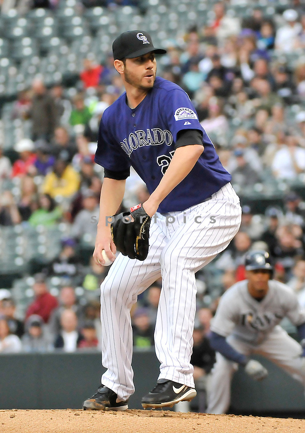 Colorado Rockies Jon Garland (27) during a game against the Tampa Bay Rays on May 4, 2013 at Coors Field in Denver, CO. The Rockies beat the Rays 9-3.