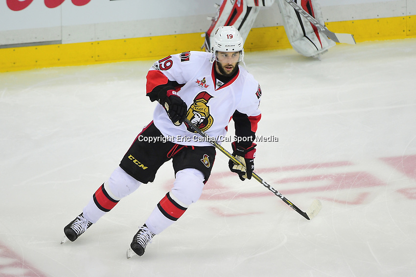 May 21, 2017: Ottawa Senators center Derick Brassard (19)  warms up before game five of the National Hockey League Eastern Conference Finals between the Ottawa Senators and the Pittsburgh Penguins, held at PPG Paints Arena, in Pittsburgh, PA. Pittsburgh shuts out Ottawa 7-0 to lead the series 3-2.  Eric Canha/CSM