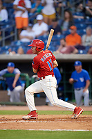 Clearwater Threshers Adam Haseley (17) hits a single during a game against the Dunedin Blue Jays on April 6, 2018 at Spectrum Field in Clearwater, Florida.  Clearwater defeated Dunedin 8-0.  (Mike Janes/Four Seam Images)