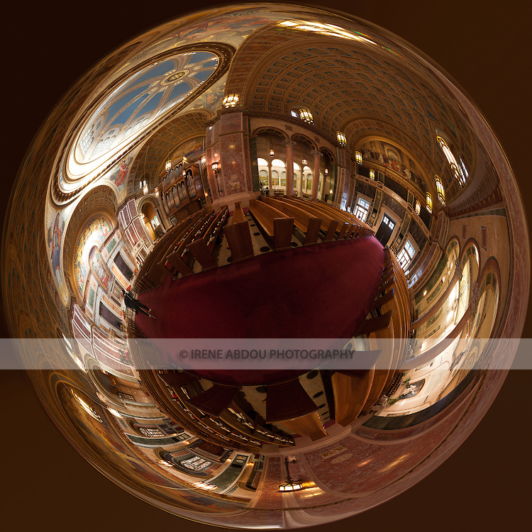 "360 degree stereographic ""my world"" panorama made from 59 individual images of the Cathedral of St. Matthew in Washington, DC.  Named after Saint Matthew the Apostle, the patron saint of civil servants, the Cathedral of St. Matthew the Apostle in Washington, DC is the seat of the Archbishop of Washington.  Built in 1893 and designed by the notable New York architect, C. Grant La Farge, the cathedral boasts an exquisitely beautiful interior."
