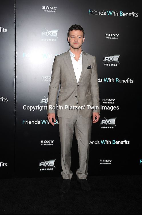 "Justin Timberlake attending the New York Premiere of ""Freinds With Benefits"" on July 18, 2011 at The Ziegfeld Theatre in New York City. The movie stars Justin Timberlake, Mila Kunis, Emma Stone, Patricia Clarkson, Jenna Elfman and Bryan Greenberg."